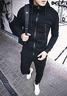 Спортивный костюм мужской теплый с капюшоном на флисе черный Турция. Живое фото. Чоловічий костюм
