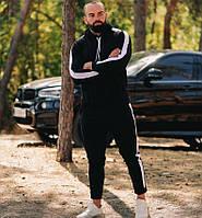 Мужской спортивный костюм черный с лампасами молодежный осень Турция. Живое фото. Чоловічий спортивний костюм