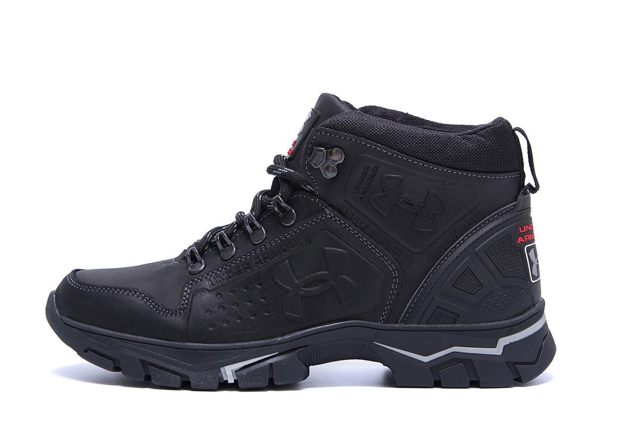 Мужские зимние кожаные ботинки Under Armour Black р. 40  42