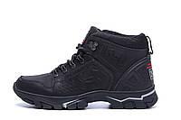 Чоловічі зимові шкіряні черевики Under Armour Black р. 40 42, фото 1