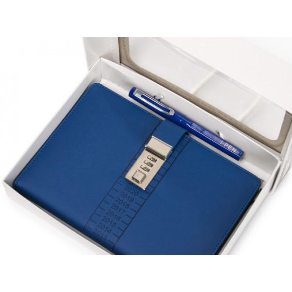 Блокнот-ежедневник с кодовым замком CAGIE Biz 96 Синий  (RZ490)