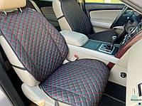 Накидки для авто из перфорированной экокожи, Черный с красной строчкой, Премиум + , Передний комплект