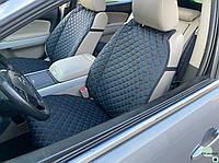 Накидки для авто из перфорированной экокожи, Черный с синей строчкой, Премиум +, Полный комплект