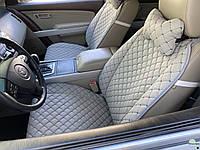Накидки для авто из перфорированной экокожи, Светло-серые с серой строчкой, Премиум +, Передний комплект