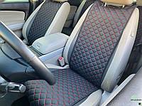 Накидки для авто из перфорированной экокожи, Черный с красной строчкой, Стандарт, 2 передних