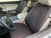 Накидки для авто из Экокожи, Черные с двойной красной строчкой, Премиум+, Передний комплект