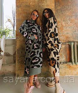 Женское вязаное платье с леопардовым принтом р.р 40-50, в расцветках. ОЛ-1-0920