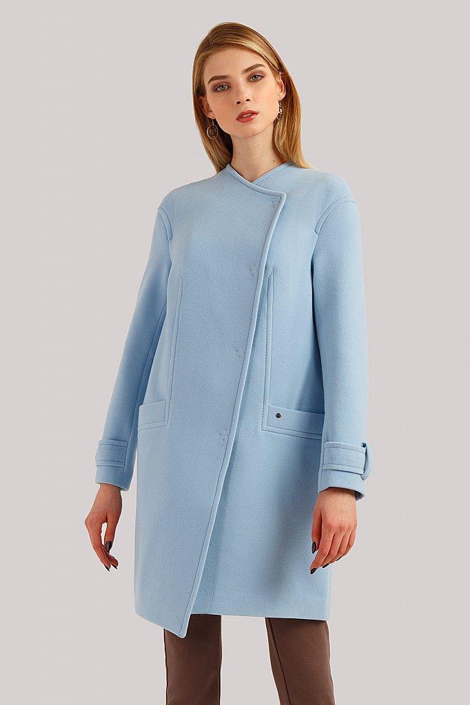 Двубортное кашемировое женское пальто голубое