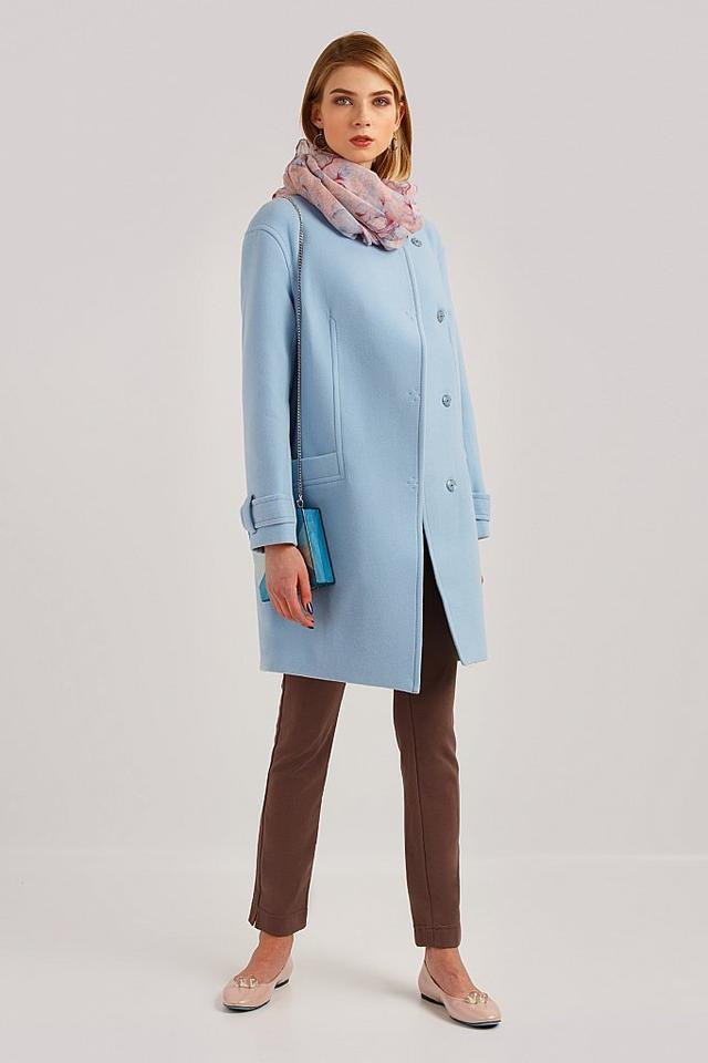 женское пальто кашемировое голубое