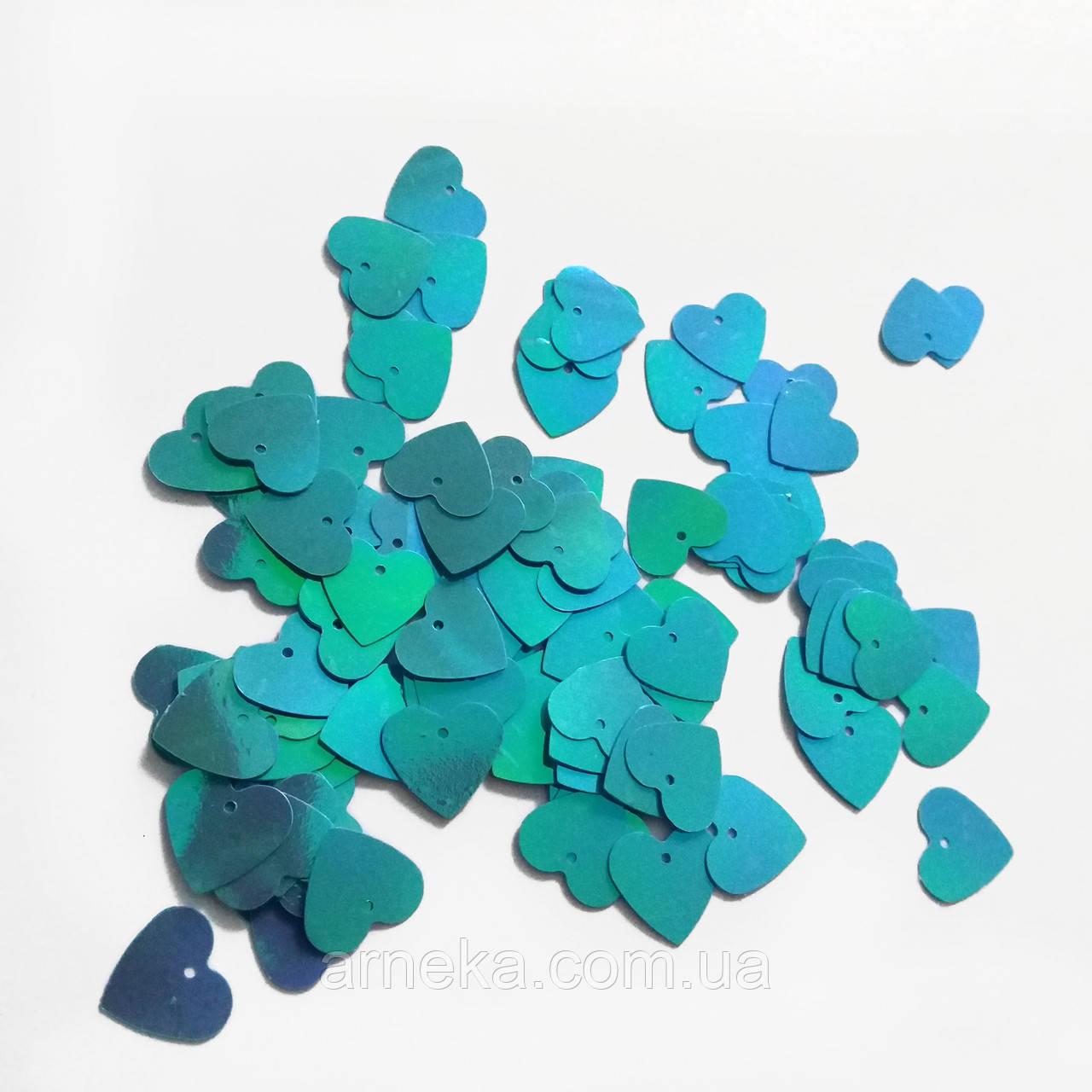 Пайетки Сердце голубые 5 грамм