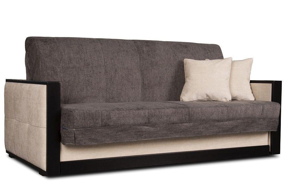Коричневый диван - кровать аккордеон Прага  от 0,7 м до 2м Константа с деревянными подлокотниками