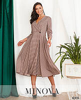 Оригинальное вельветовое двубортное платье в клетку с пышным подолом с 48 по 54 размер, фото 1
