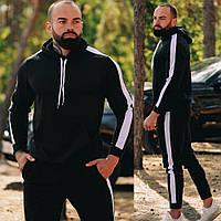 Мужской спортивный костюм осень-весна без начеса с капюшоном, Черный на манжетах