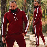 Мужской спортивный костюм осень-весна без начеса с капюшоном, Бордовый на манжетах