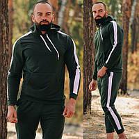 Мужской спортивный костюм осень-весна без начеса с капюшоном, Хаки на манжетах