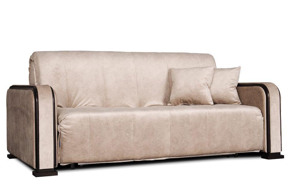 Бежевий диван - ліжко акордеон Даллас від 0,7 м до 2м Константа з підлокітниками