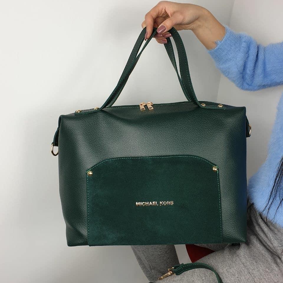 Зеленая женская сумка чемоданчик саквояж сумочка небольшая средняя модная замша+кожзам