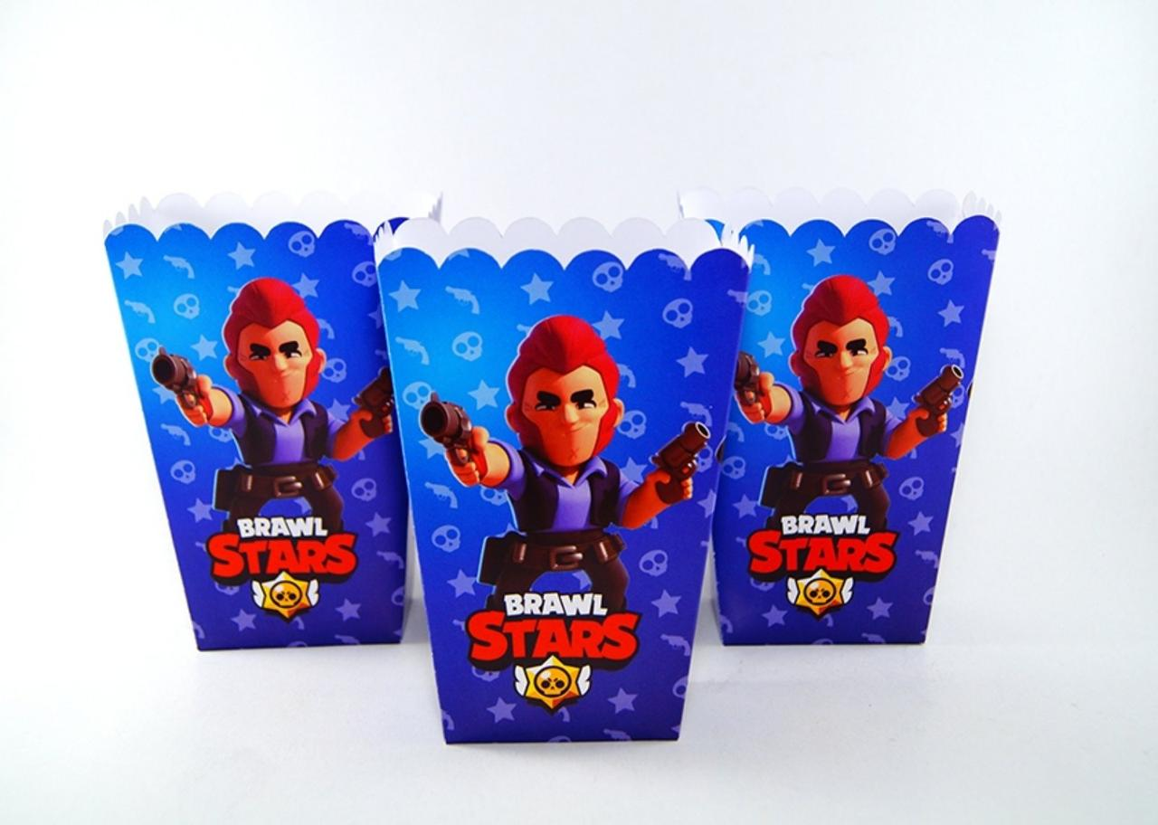 Коробочки стаканчики бумажные для сладостей и попкорна Бравл Старс 5 штук