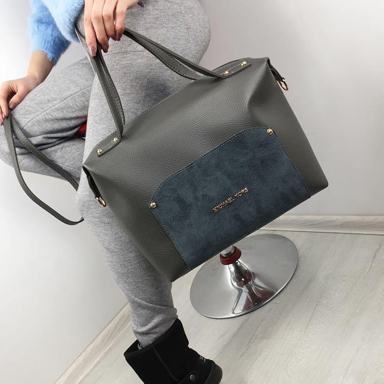 Серая женская сумка чемоданчик саквояж сумочка небольшая средняя модная вместительная замша+кожзам