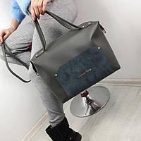 Серая женская сумка чемоданчик саквояж сумочка небольшая средняя модная вместительная замша+кожзам, фото 1