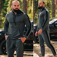 Мужской спортивный костюм осень-весна без начеса с капюшоном, на манжетах Темно-серый (антрацит)