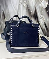 Небольшая синяя замшевая женская сумка кроссбоди модная молодежная сумочка натуральная замша+кожзам, фото 1