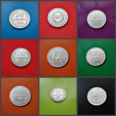 Срібло 500 проби Монети 10,15, 20 копійок 1907,1922 - 1930 рр.