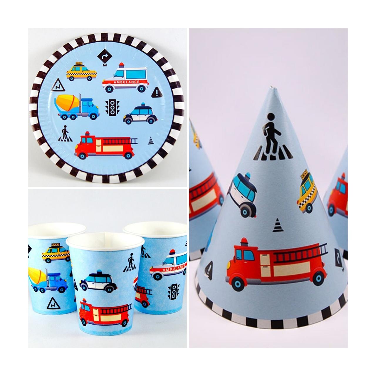 Набор детской праздничной одноразовой посуды Транспорт 10 тарелок , 10 стаканчиков , 10 колпачков