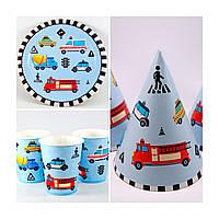 Набор одноразовой посуды бумажный для праздника Транспорт 10 тарелок , 10 стаканчиков , 10 колпачков