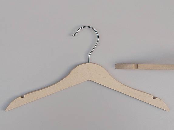 Плічка вішалки тремпеля дерев'яні ECO світлі, довжина 32,5 см, в упаковці 5 штук, фото 2
