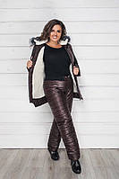 Тёплый женский зимний костюм на синтепоне и овчине куртка и штаны шоколад 42 44 46 48-50 52-54 56-58, фото 1