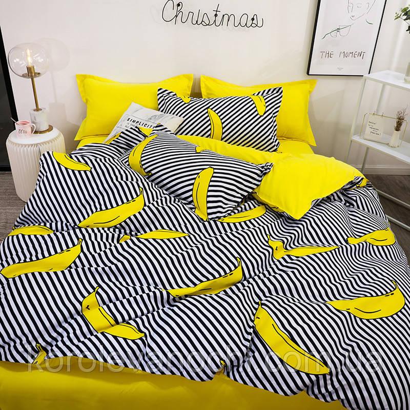 """Евро комплект (Бязь) постельного белья """"Королева Ночи""""   Постельное белье от производителя   Бананы на желтом"""