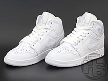 Жіночі кросівки Air Jordan 1 Mid Triple White 554724-109, фото 3