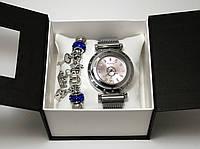 Часы женские в стиле Pandora (магнитный замок) + браслет, серебристые с розовым циферблатом