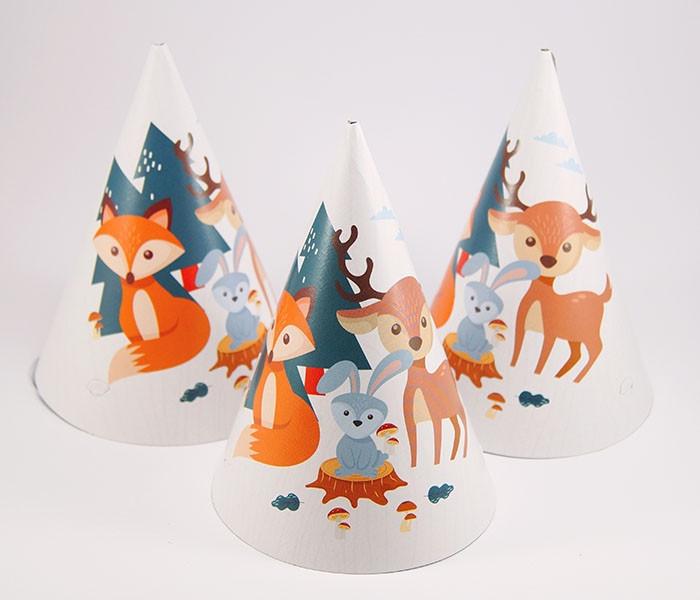 Колпачки праздничные  бумажные Лесные звери 10 шт