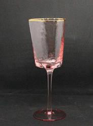 Набор 6 бокалов для вина из цветного розового стекла Розовый Ангел 350 мл