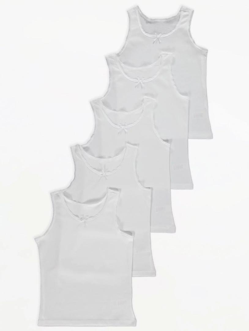 Детские бельевые маечки белого цвета Джордж для девочки (поштучно)