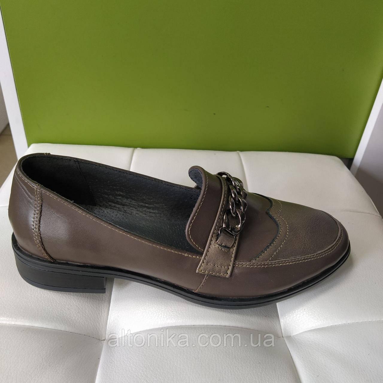 STTOPA Размеры 42-44. Туфли лоферы больших размеров кожаные. С6-24-4244-3 Коричневые
