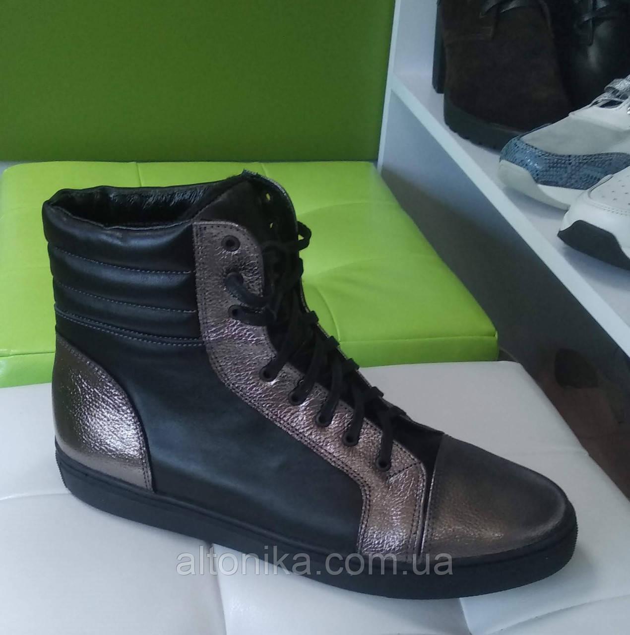STTOPA деми зима. Размеры 40-44. Ботинки кожаные больших размеров! С9-13-4044-28-3644 Черные Серебро