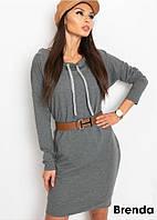 Женское платье спортивное, ткань: турецкая двухнить,с капюшоном,oversized(42-46), фото 1