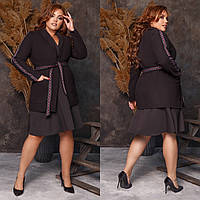 Женское пальто на запах,ткань: кашемир, с поясом и карманами (48-62), фото 1