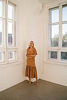 Женское платье, материал жатый хлопок с вискозой, с короткими рукавами,длинное (42-48), фото 1