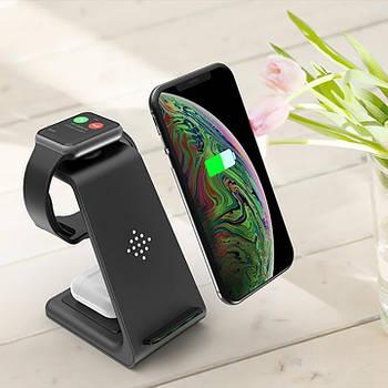 Бездротове зарядний пристрій T3 3 в 1 для iPhone/AirPods/Apple Watch, бездротова зарядка T3