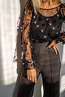 Женская Блуза +майка стильная, материал -сетка и микродайвинг, с длинным рукавом(42-48), фото 1