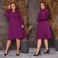 Женское платье,ткань: креп костюмка, высокого качества, с длинным рукавом, с декольте(48-62)