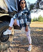 Женская рубашка в клетку «Кашемир», стильная кань - плотный турецкий кашемир, с карманами(42-46)