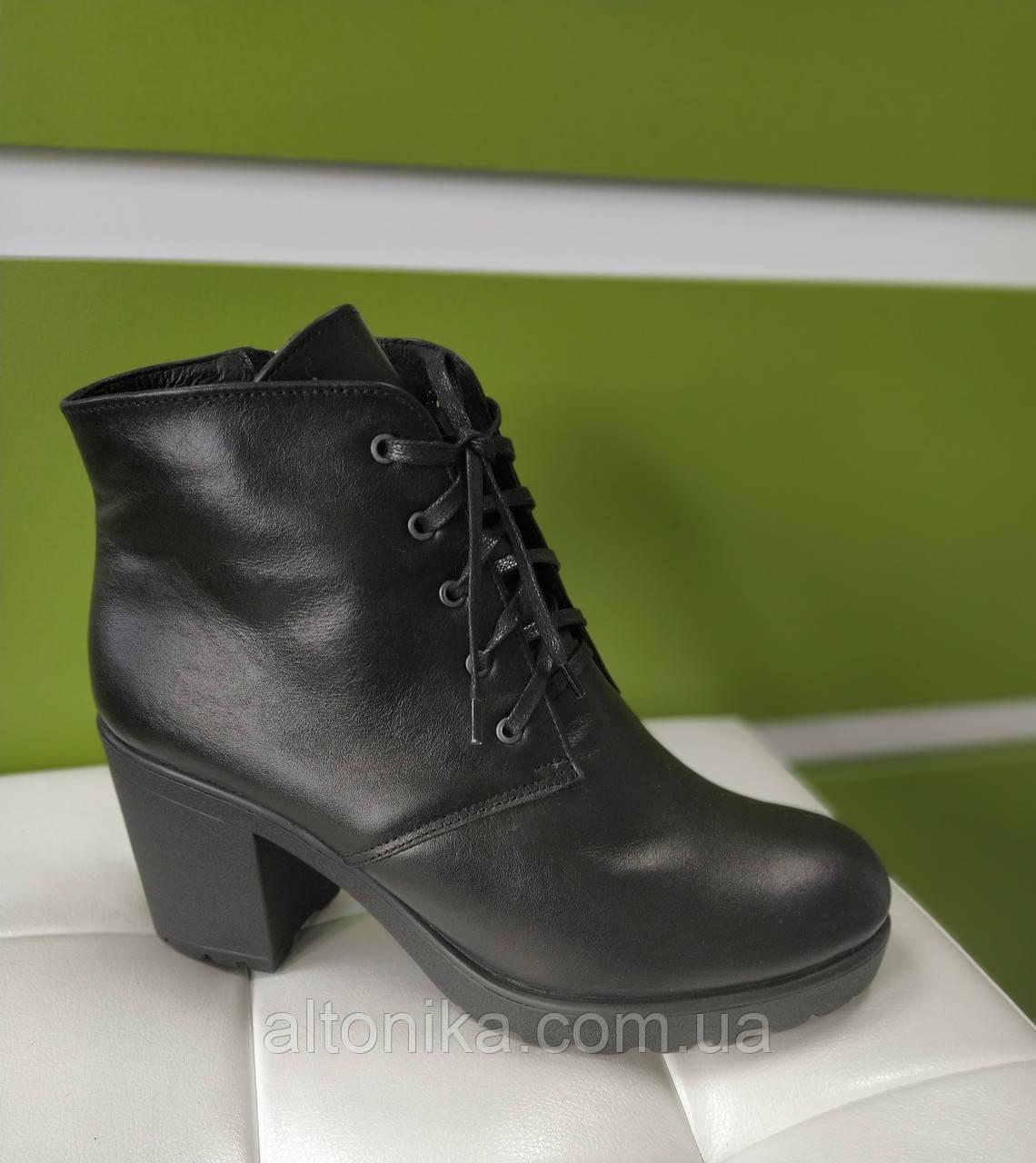 STTOPA деми зима. Размеры 35-42. Ботинки кожаные больших размеров! Каблук 8 см. С-9-2-3542-8-3542 Черные