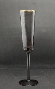 Набір 6 келихів для шампанського з кольорового чорного скла Чорний Ангел 150 мл