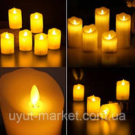 Светодиодная свеча с имитацией пламени 75х150мм, 2700К парафиновый воск