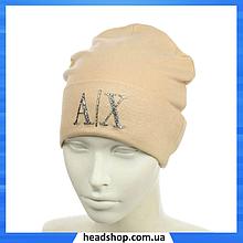 """Жіноча шапка з трендовим патчем """"АХ"""" (Бежева) - молодіжна шапка-лопата з відворотом"""